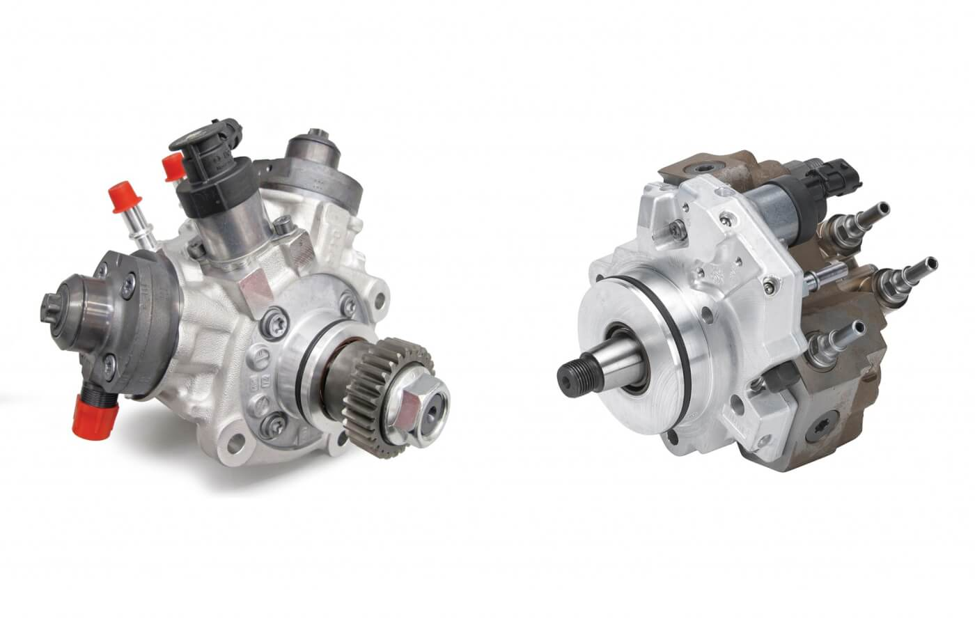 14. In terms of flow, the Exergy 10mm CP3 (right) vastly outperforms the Bosch CP4.2 (left). At a test speed of 3,000 rpm and 180 MPa (26,000 psi) of rail pressure, the 10mm Exergy CP3 flows 54 percent more fuel than the stock CP4.2. And because Exergy's pumps don't fall off after 3,000 rpm like the factory CP4.2 does, the Exergy pump flows an impressive 72 percent more volume at 3,500 rpm.