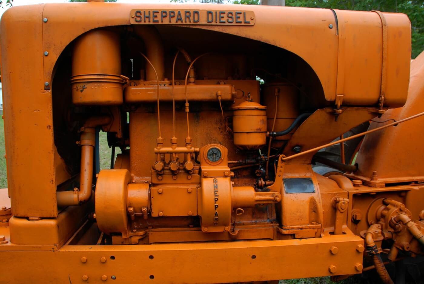 The SD-3's 6B engine was in indirect-injected three-cylinder with four main bearings, wet sleeves and a 22:1 compression ratio. It was direct start and had a cold start aid in the form of an electric coil onto which was sprayed diesel fuel. The system didn't work very well and was most often disabled because it tended to allow air into the injection system. At 1,660 lbs, the engine is massive for its small 188 ci displacement. The 6E engine was optional and had a quarter-inch more bore. Version of these engines were offered for industrial use, marine applications or generators.