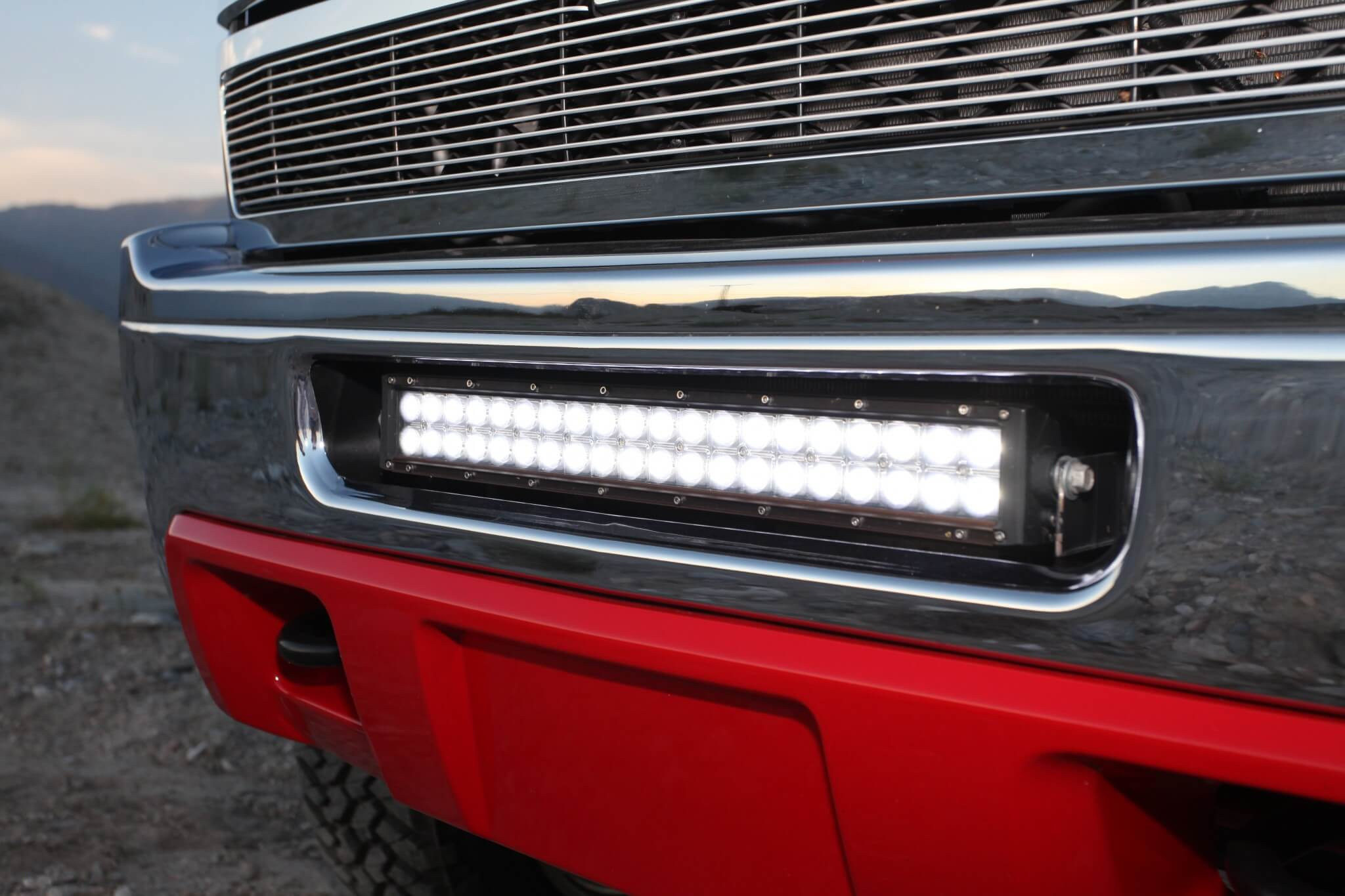A Rigid LED light bar fits perfectly into the lower grille opening.
