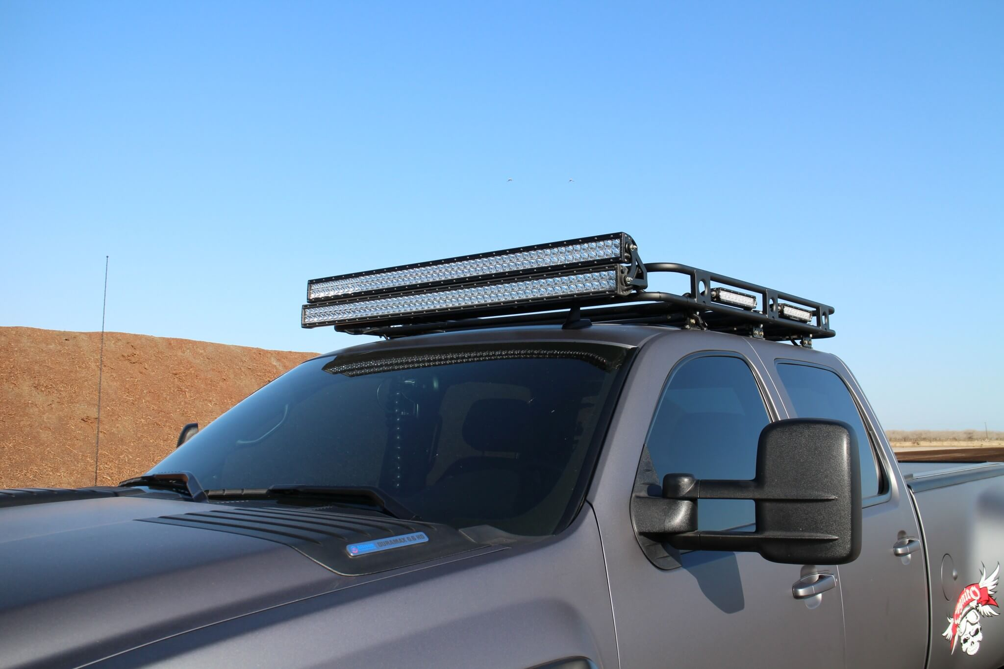 A Smittybuilt Defender roof rack was fitted with two stacked Rigid Industries 50-inch LED light bars up front, two 10-inch bars on each side and a single 30-inch bar to the rear.