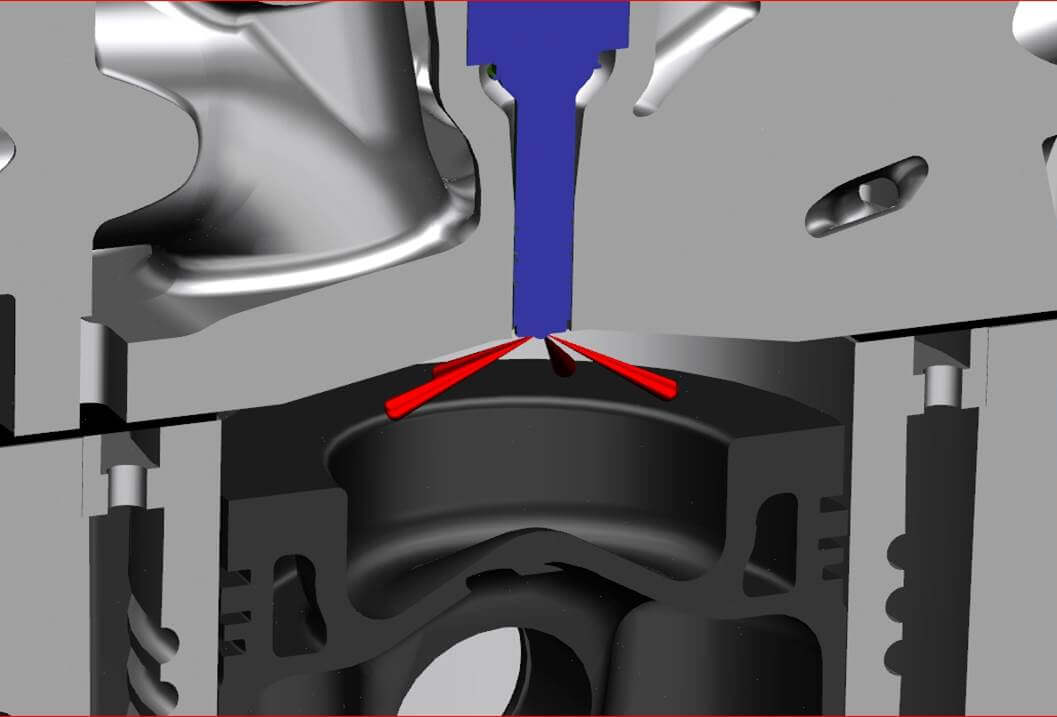 3. The GDCI engine uses a single injector poised among splay valves. The solenoid injector does not emit any fuel until after TDC, and then follows with other injections. Note the deeply dished diesel-style piston.