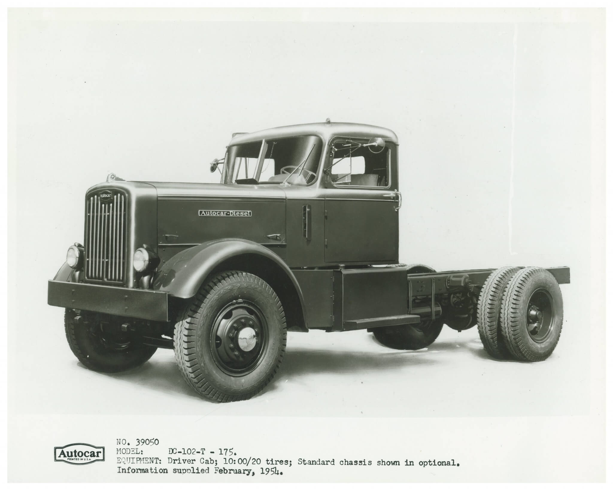 Custom branding was the new thrust of White's Autocar brand in 1954. This DC Series platform shown is considered the standard chassis.