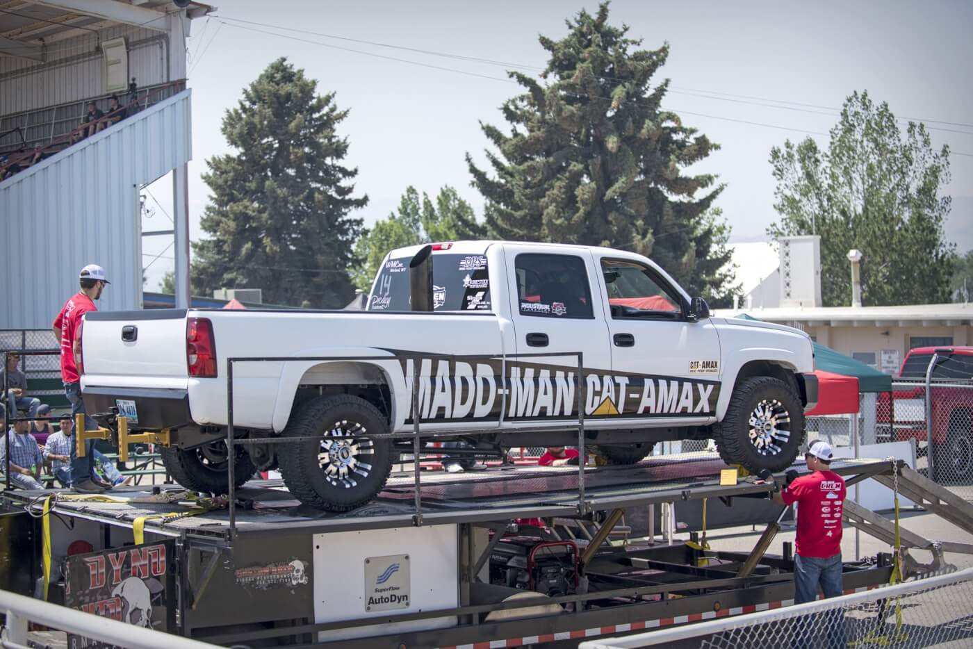 The dyno competition was held at the Power County Fairgrounds beside the dirt track where the evening pull and drag race were held. Trucks ran on Custom Auto's portable chassis dyno throughout the day, with a handful surpassing the 1,000-horsepower mark.