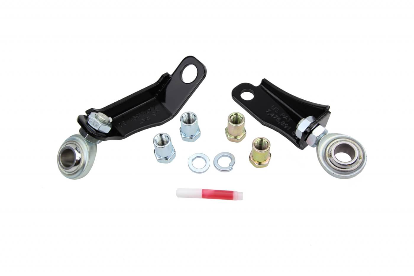 8. These small but simple items make up the Cognito pitman arm and idler arm brace kit. The stock components move around as you steer your truck down the road. Stiffening the mounting improves steering feel and response.