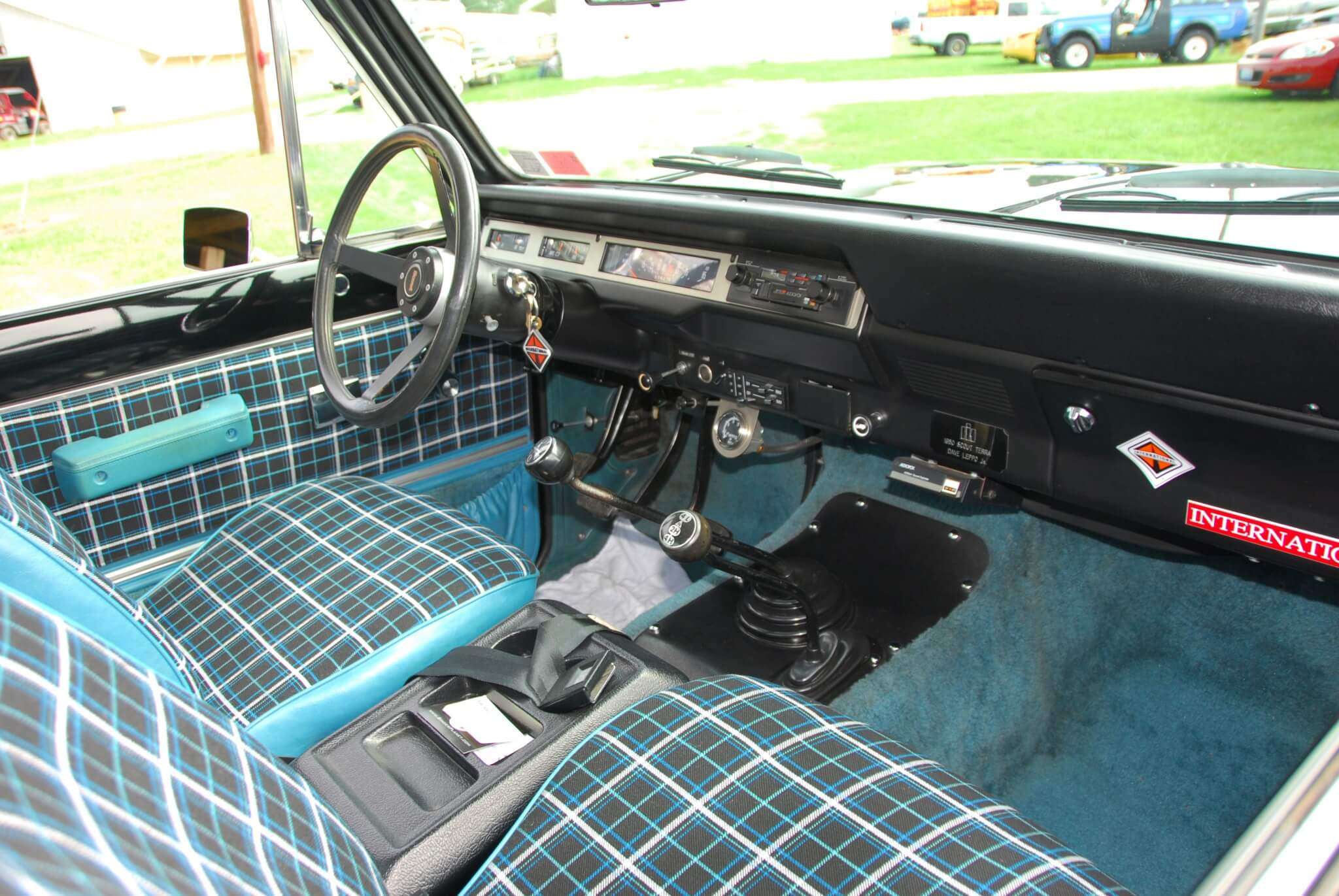 Can you tell this rig came from the 1970s? The interior of Leppo's Scout is all original. This is the top of the line Custom interior, the best the factory offered. A bench seat was standard.