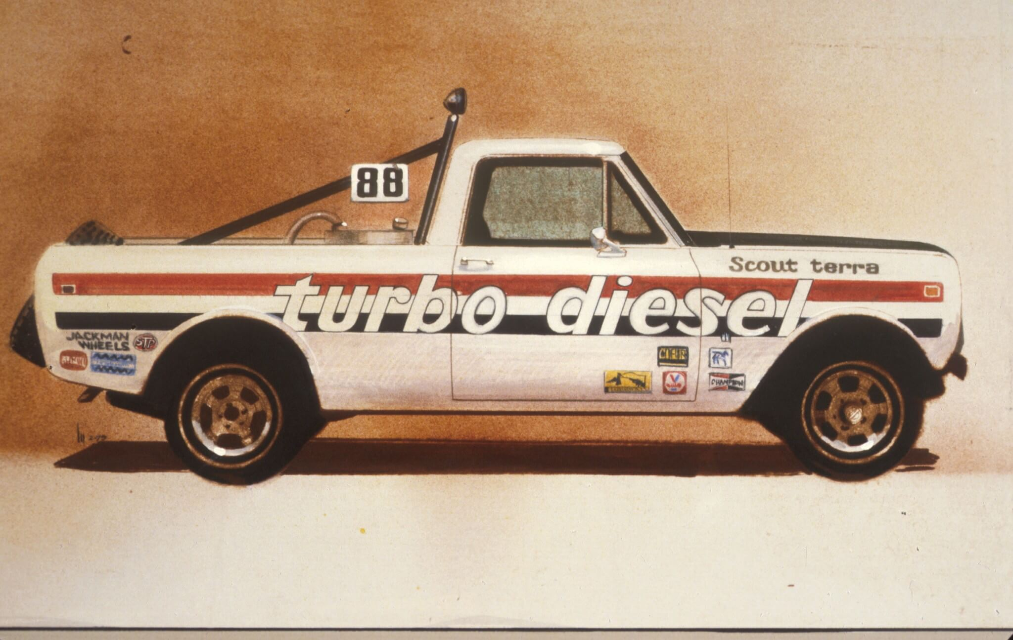 When the turbo diesel debuted, several Scout racers jumped on the bandwagon. Jimmy Jones, Jerry Boone and Sherman Balch all ran turbodiesel Scouts in the Baja 500 and 1000 races into the early 1980s. According to a magazine article of the era, in 1979 Jimmy Jones was the first person to finish the Baja 1000 race in a diesel-powered vehicle, and his Scout was also the first turbocharged vehicle to race. He set a record for the lowest fuel expenditure to that time, spending a mere $30 run the 1,000 miles.