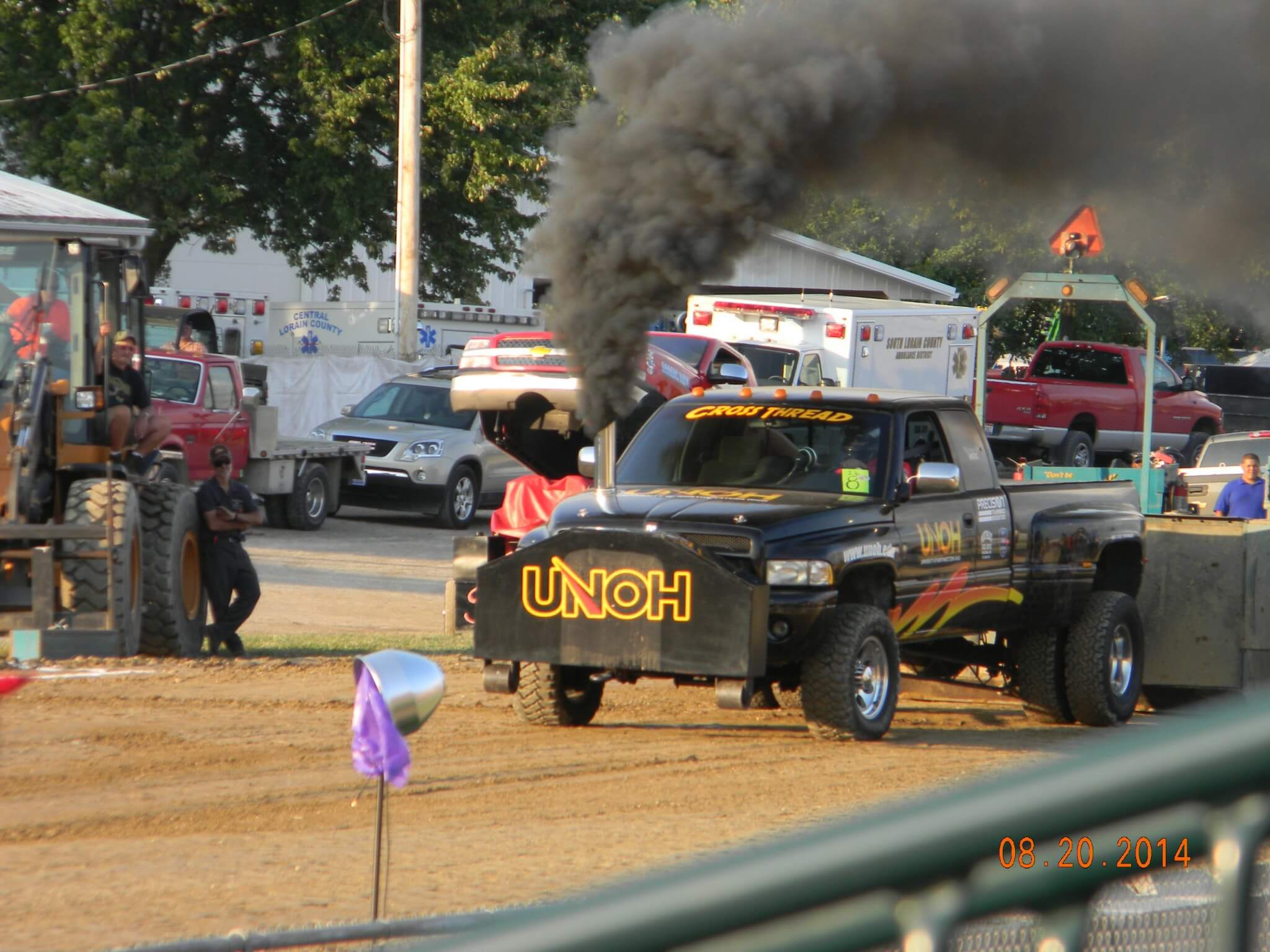 "19. The UNOH Diesel Club ""Cross Thread"" stoked up at a pull in the summer of 2014. The 2.6 truck was donated by Scott Klausing, intact but in need of an engine. The UNOH Diesel Club is also working on a 3.0-class truck, and plans to compete in both classes."
