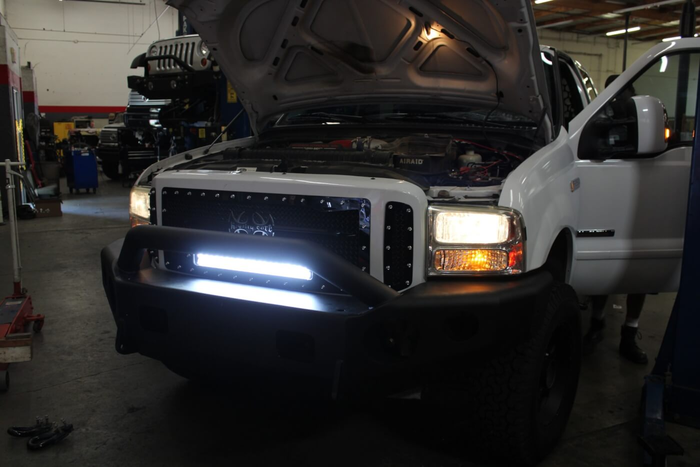 18. A quick check verifies that the Vision X light bar is working and also gives us a glimpse of what the truck will look like after dark with the light bar on. Our installation is wired so that the light bar can only be switched on with the headlights.