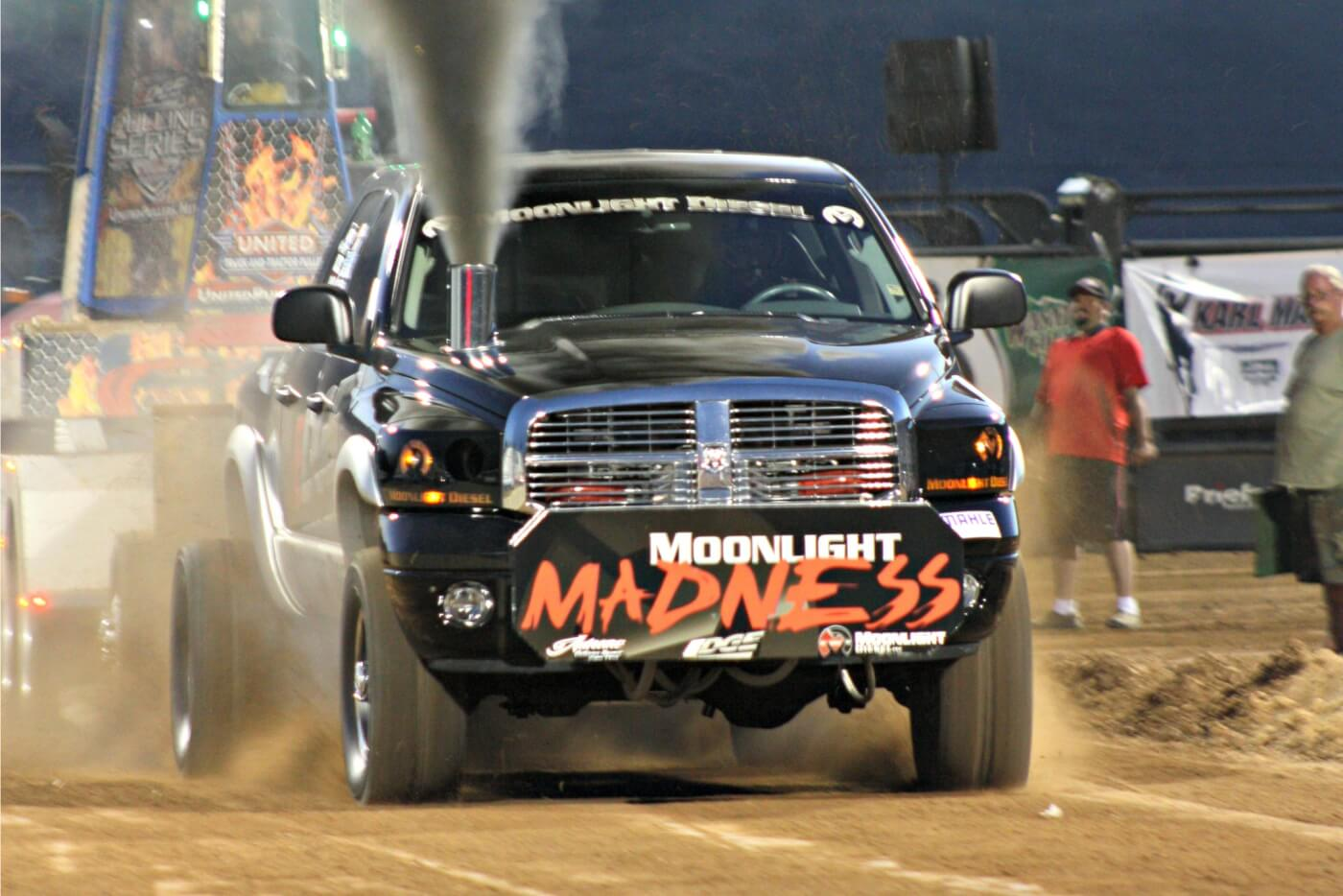 "Ryan Thain's ""Moonlight Madness"" truck put on a sled pull clinic in the 3.2 Class with a 310-ft. pull, more than 25 feet further than the next closest competitor."