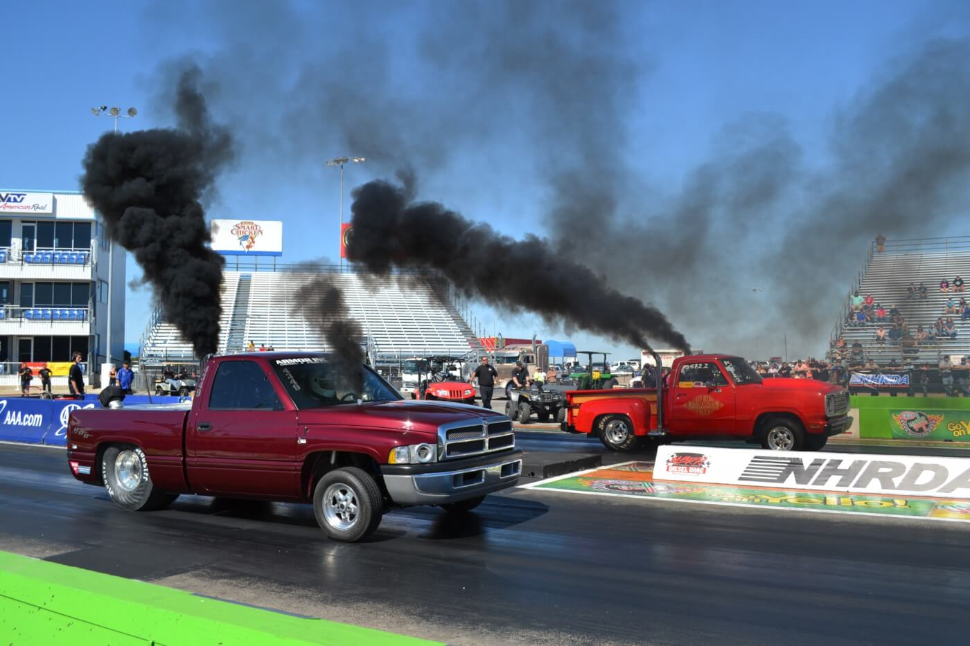 The Armor Inc. Pro Street drag truck (near lane) was one team that really kicked off the drag racing action, with a strong 8.95-second effort at 157 mph. The back-halfed Dodge features a common-rail Cummins for power.