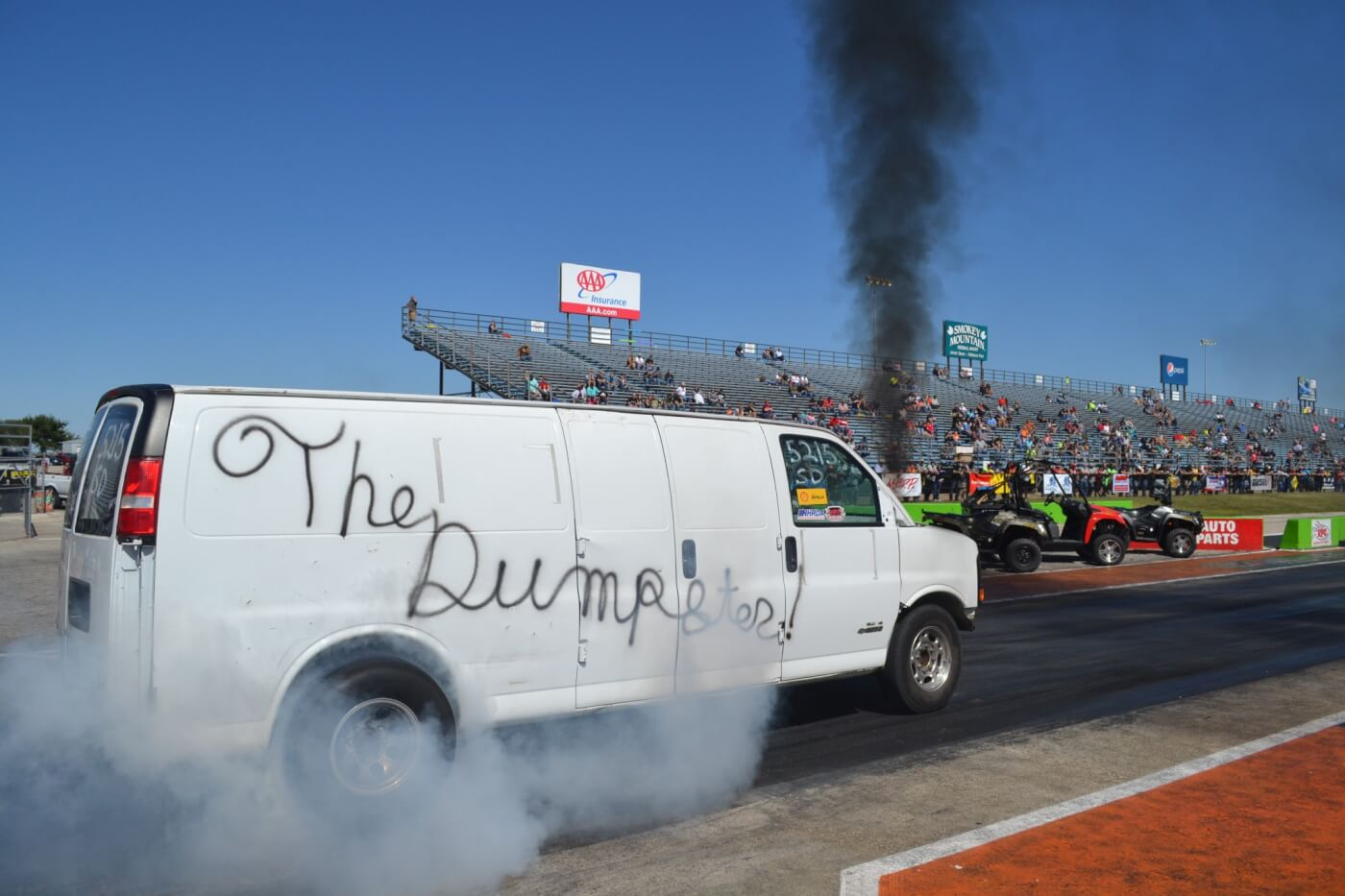 "Another crowd favorite was ""The Dumpster,"" a 10-second Duramax-powered van that was built on the tightest budget imaginable. The van was detuned and running without nitrous for Super Diesel, an 11.90-index bracket class."