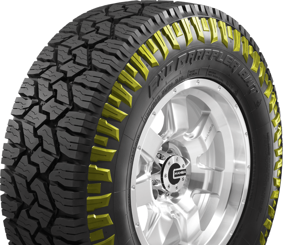 The EXO Grappler AWT has staggered shoulder blocks. This asymmetrical design is said to add biting edges for improved off-pavement traction. The sidewall is a three-ply design that offers improved sidewall strength and puncture resistance.