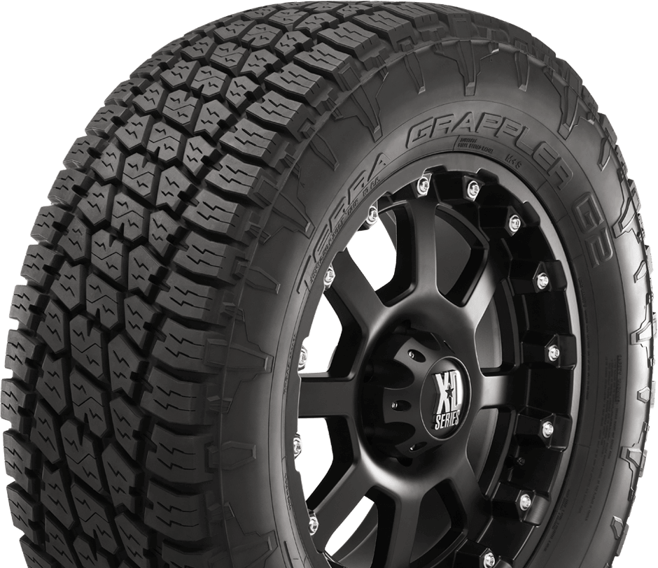 A standard for Nitto light truck tires is their dual-design sidewall. You can face the side you like out, or mix and match to really mess with peoples' heads.