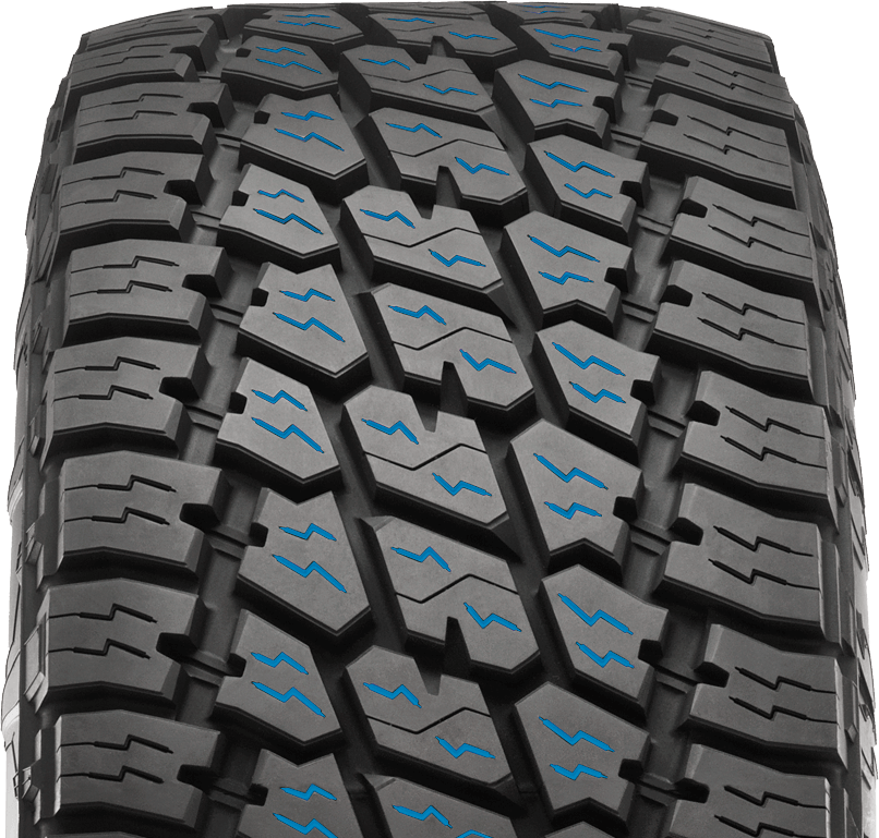 The Terra Grappler G2 features full-depth sipes in the tread. This provides the functional benefit of increased all-season performance. On the aesthetic front, the tire will maintain the appearance of the tread design throughout the tire's life expectancy, even as the tire wears down.