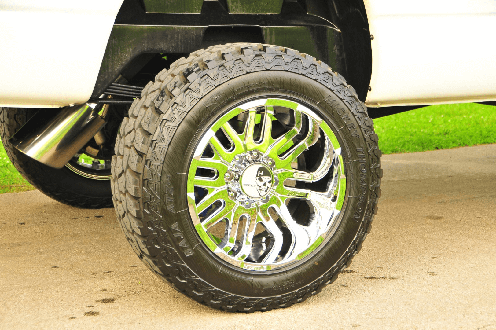 The 20-inch chrome Hostile Zombie wheels were sourced through XTown Performance. The wheels are wrapped with Mickey Thompson ATZP3 35-inch tires.