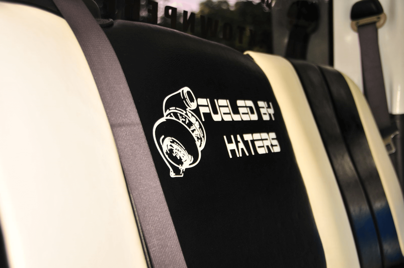 There were plenty who doubted that Jacob could bring his truck back to life. He proved them wrong. He had the seats embroidered in their honor.