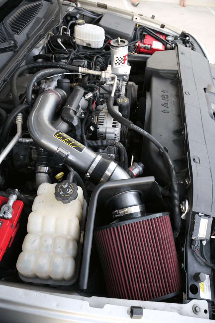 The Chevy's 6.6-liter Duramax is enhanced with an AEM cold air intake, EFILive tuner and Air Dog 2 lift pump.